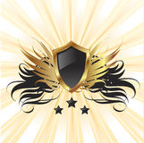 Gold retro shield background Royalty Free Stock Photography