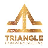Gold Retro Triangle T letter Logo stock illustration