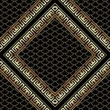 Gold rhombus 3d greek key meander frames seamless pattern. Grid lattice background. Lace, snake skin textured ornament. Decorative frames with place for text Stock Photo