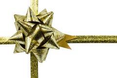 Gold ribbon. Isolated on white Royalty Free Stock Photo