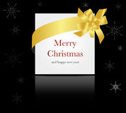 Gold ribbon around christmas or wedding card Royalty Free Stock Photos