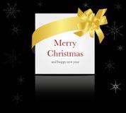 Gold ribbon around christmas or wedding card Royalty Free Stock Photos