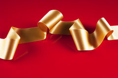 Gold ribbon banner Stock Photo