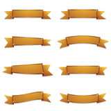 Gold ribbon banners Stock Photography