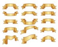 Gold ribbon banners vector set Royalty Free Stock Photos
