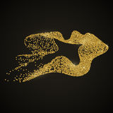 Gold ribbon black. Vector abstract stippling gold lines. Gold shining background. Glitter jewels. Dotted textured shape stock illustration