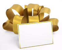 Gold ribbon with blank card 3d Royalty Free Stock Image