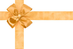 Gold ribbon and bow Royalty Free Stock Images