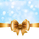 Gold ribbon with bow on blue background. Vector  for   posters, greeting cards, print projects Royalty Free Stock Photography