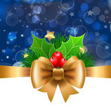 Gold ribbon with bow and holly on blue background. Royalty Free Stock Photos