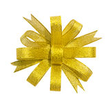 Gold ribbon bow Stock Image