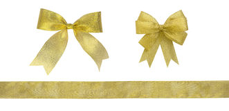 Gold ribbon bow isolated on white background, clipping paht incl Stock Images