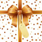 Gold ribbon bow with tag card. Illustration of Gold ribbon bow with tag card Stock Photos