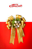 Gold ribbon with bow. On white background Royalty Free Stock Photography