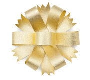 Gold ribbon bow Stock Photo