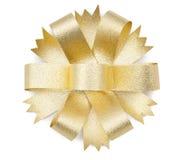 Gold ribbon bow. On white background Stock Photo