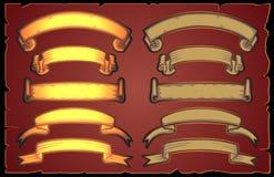 Gold ribbon. Gold and bronze ribbon banner vintage set on dark background.Vector illustration Royalty Free Stock Photo