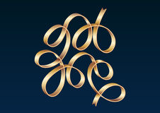 Gold ribbon celebrate gradient vector illustration Stock Photo
