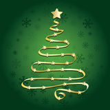 Gold ribbon christmas tree Stock Images