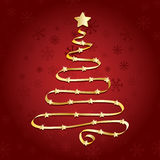 Gold ribbon christmas tree Stock Photography