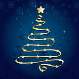 Gold ribbon christmas tree Stock Photography