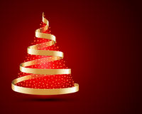 Gold ribbon Christmas tree. And bright lights Stock Photos