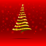 011-Gold ribbon  christmas tree. Gold ribbon christmas tree with blink star on the blue background Stock Photography
