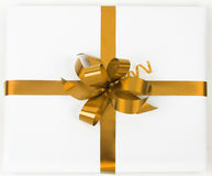 Gold ribbon with clipping path. Christmas Royalty Free Stock Photos