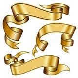 Gold ribbon collection Royalty Free Stock Photos