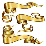 Gold ribbon collection Royalty Free Stock Image