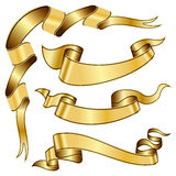 Gold ribbon collection Royalty Free Stock Images