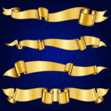 Gold ribbon collection Royalty Free Stock Photography