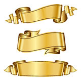 Gold ribbon collection Stock Images