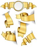 Gold ribbon collection Royalty Free Stock Photos