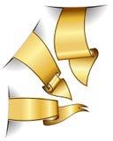 Gold ribbon collection Stock Photos