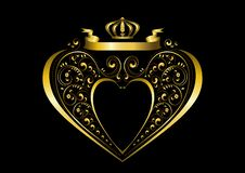 Gold ribbon with a crown over a gold heart-shaped frame and with pattern of calligraphic curled details royalty free stock images