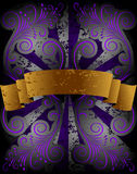 Gold ribbon on floral pattern Royalty Free Stock Image