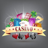 Gold ribbon and gambling elements with casino headline. Stock Photo