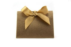 Gold ribbon gift Royalty Free Stock Photo