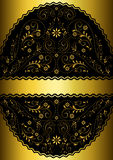 Gold ribbon in gold wavy openwork floral oval frame Royalty Free Stock Photos