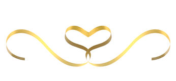 Gold ribbon heart. On white background royalty free stock photography
