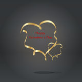 Gold ribbon heart on the gray background Royalty Free Stock Photo
