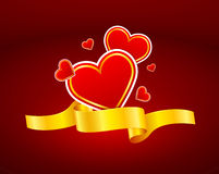 Gold ribbon with heart icon Stock Image