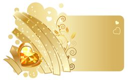 Gold ribbon and jewel on beige background Royalty Free Stock Photos