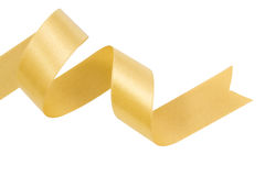 Gold ribbon nicely uncurled Stock Photos