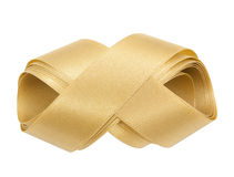 Gold ribbon nicely uncurled isolated Stock Images