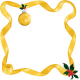 Gold ribbon, ornament & holly Royalty Free Stock Image