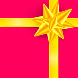 Gold Ribbon on Pink Background - Gift Box Cover. Vector Illustration Stock Photos