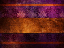 Gold ribbon on purple background. Illustration of purple puttern background with gold ribbon, old vintage grunge texture Royalty Free Stock Image