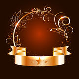 Gold ribbon and round frame with decorative elements Stock Photography